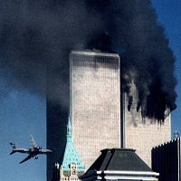 Plane flying into World Trade Center